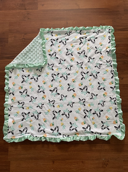 Green Cow Baby Blanket