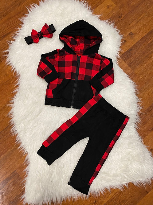 Plaid Zip Up Sweater Outfit With Headband
