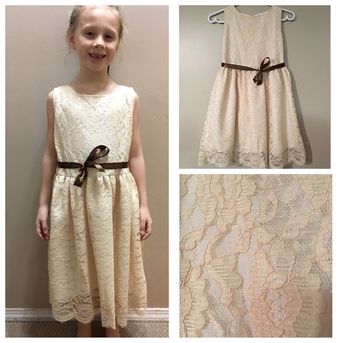 Creamy Golden Lace Dress