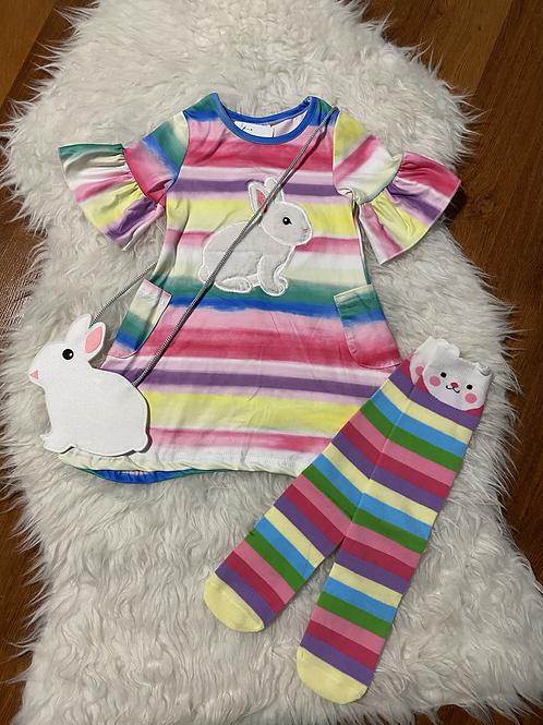 Rainbow Bunny Dress with Purse/Socks
