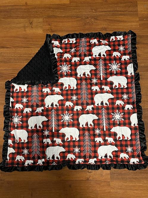 Plaid Deer Baby Blankets