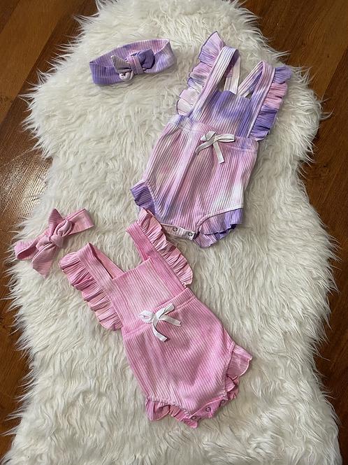 Pink/Purple Tye Dye Rompers with Headwraps