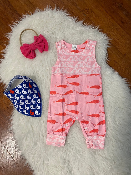 Pink Wave and Narwahl Romper