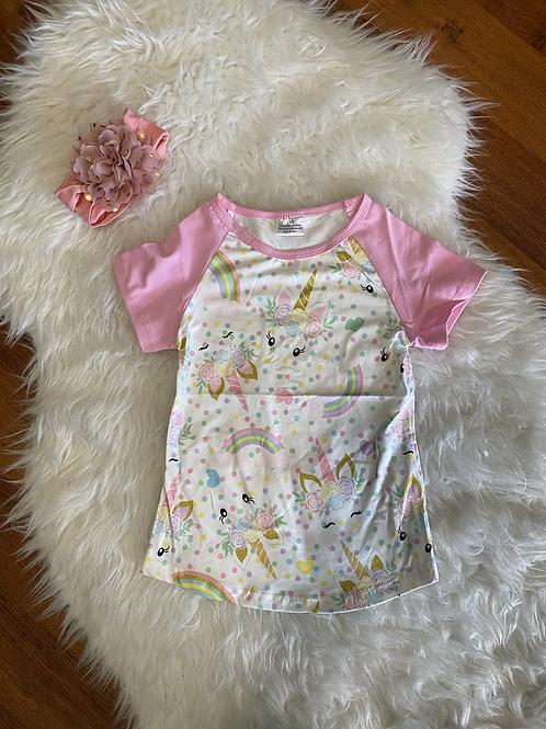 Pink Sleeve Unicorn Shirt