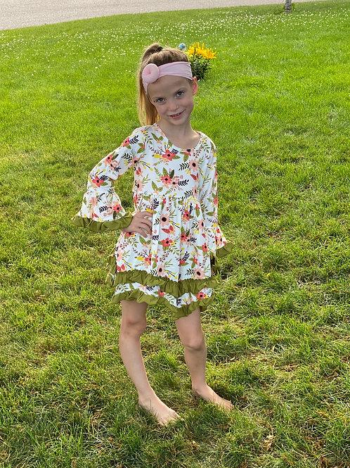Forest Green Flower Dress