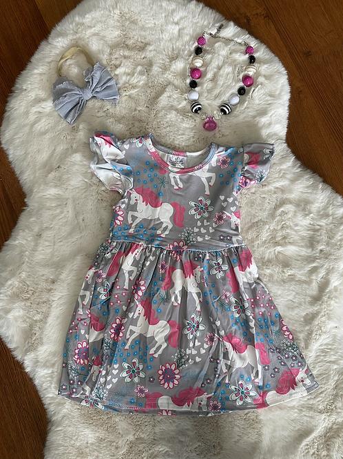 Grey/Pink Unicorn Dress