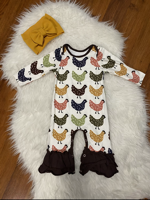 Rooster Ruffled Romper
