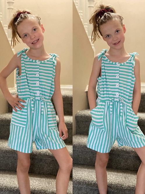 Blue Stripe Romper with Pockets