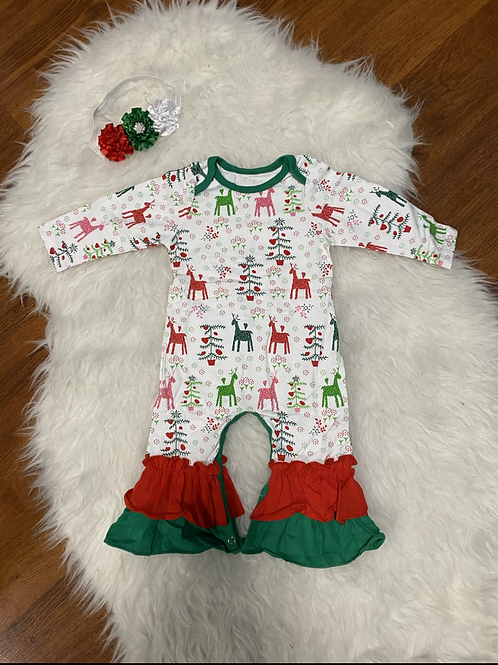 Christmas Ruffled Romper
