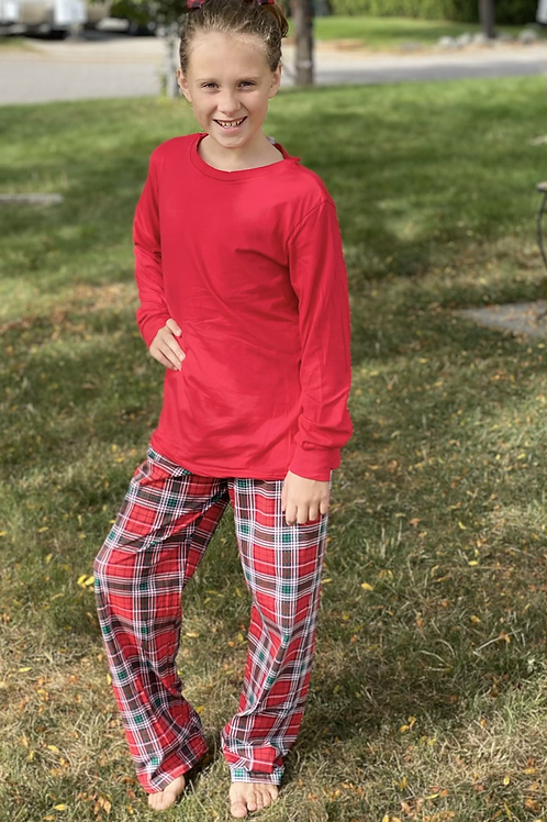 Red Plaid Big Kid Adult PJ's