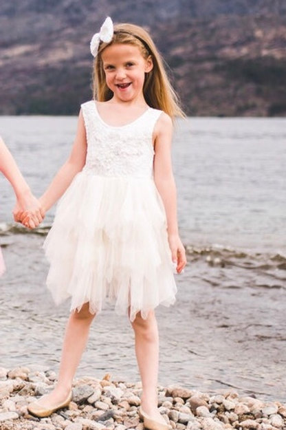 Sleeveless Detailed Beige Tutu Dress