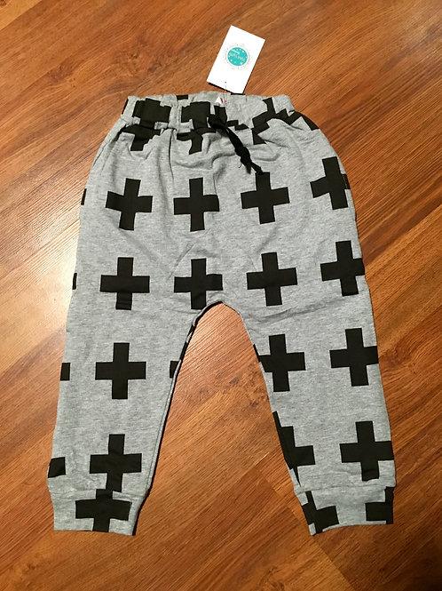 Grey Cross  Harem Pants with Pockets