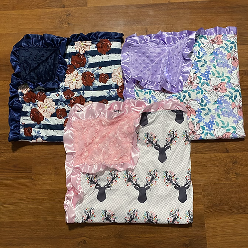 Pink Deer, Blue Floral, Purple Floral Blanket