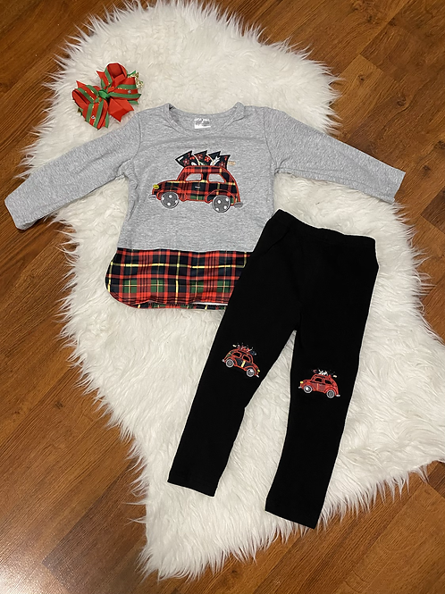 Christmas Plaid Car Tree Outfit