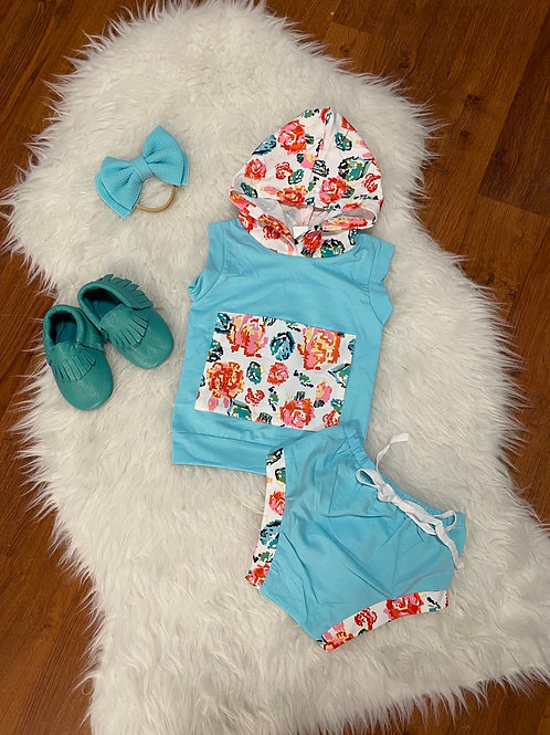 Blue Flower Hooded Outfit
