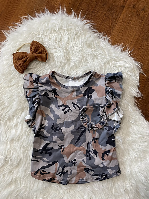 Camo Ruffled Short Sleeve Shirt