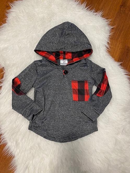 Grey Plaid Lightweight Sweater