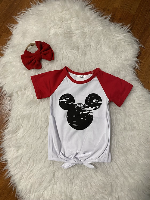 Mickey Inspired Tie Up Shirt