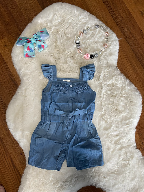 Blue Heart Button Romper