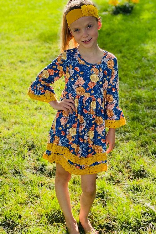 Blue Mustard Flower Dress