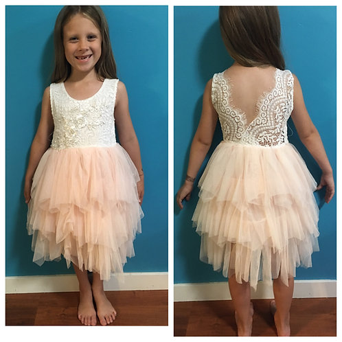 Light pink/Peachy Sleeveless Tutu Dress
