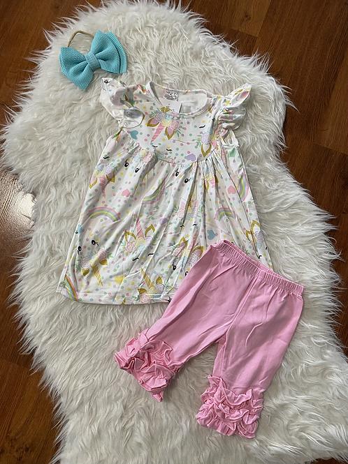 Unicorn Shirt/Dress Capri Outfit