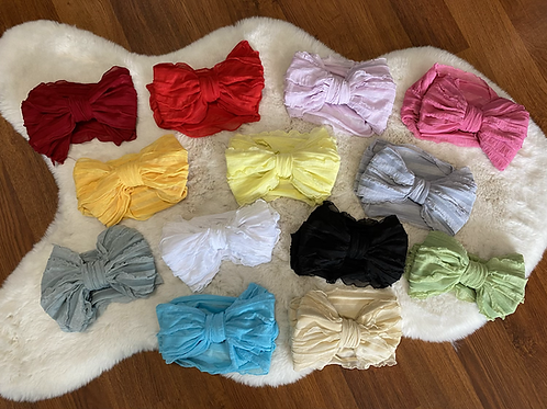 Large Ruffled Bow Headwraps