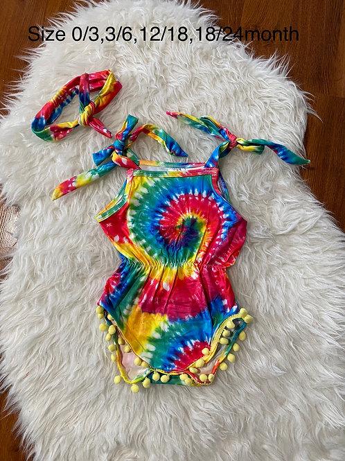 Bright Tye Dye Romper with Headwrap