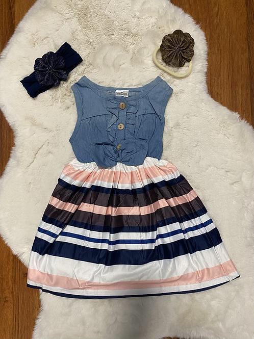 Jean Top Stripe Bottom Dress