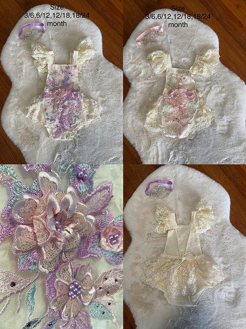Lace 3D flower Romper