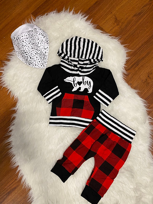 Baby Bear Plaid Sweater Outfit