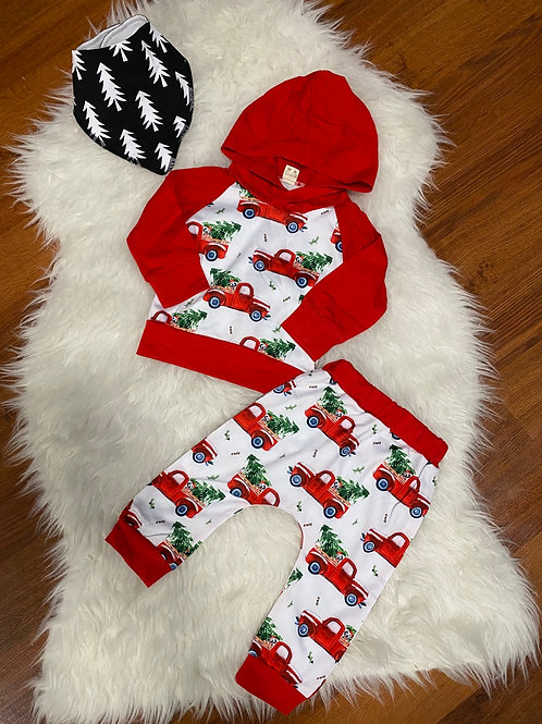 Red Tree Truck Sweater Outfit