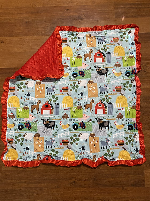 Red Farm Baby Blanket