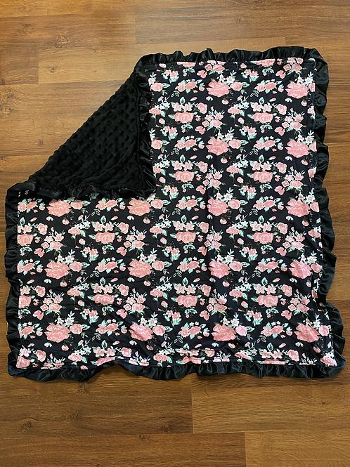 Black Flower Baby Blanket