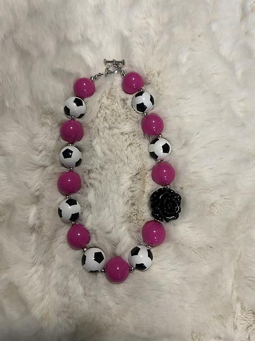 Soccer Rose Bubble Necklace