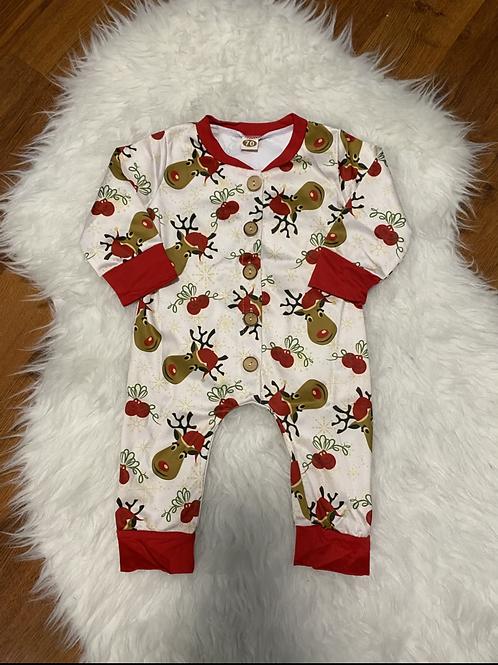 Santa Hat Reindeer Romper