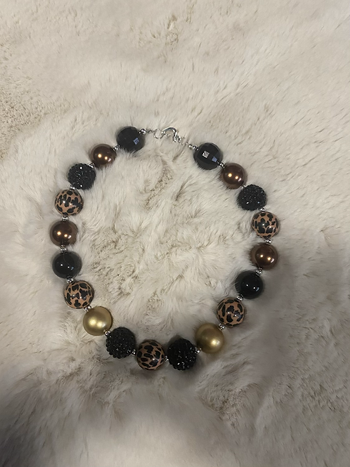 Leopard Gold Black Bubble Necklace