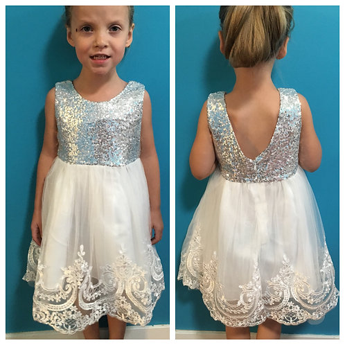 Silver Sparkle Top Dress With Detailed Bottom