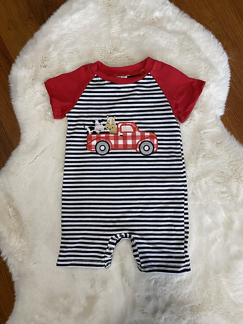 Red Truck Farm Animal Romper
