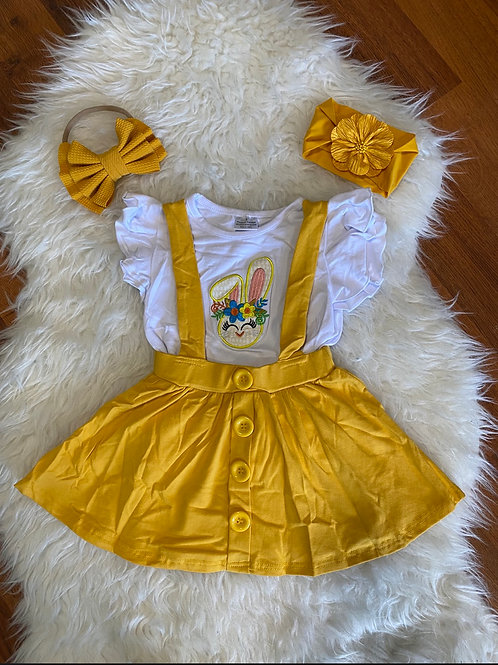Mustard Suspender Bunny Skirt Outfit