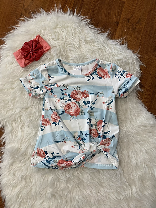 Blue Stripe Floral Shirt