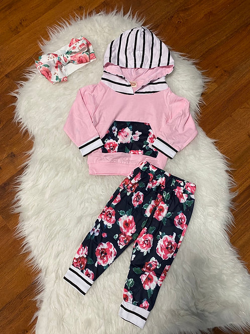 Pink Flower Long Sleeve Sweater Outfit