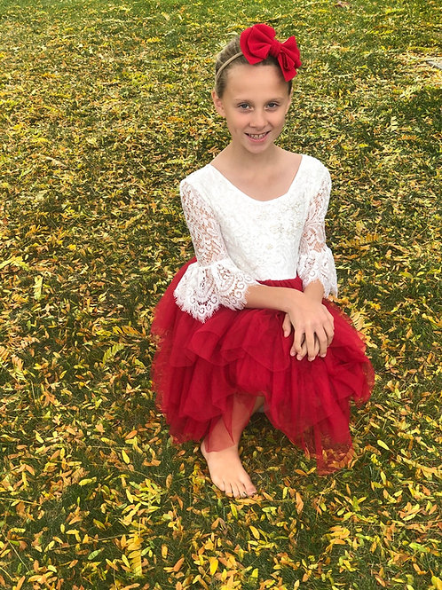 Dark Red Lace Sleeve Tutu Dress