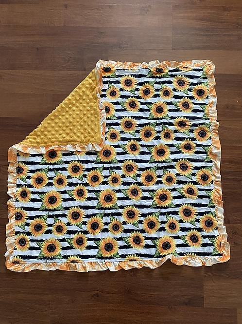 Stripe Sunflower Baby Blanket