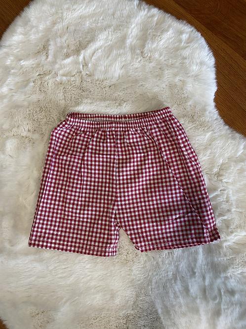 Red Checkered  Lightweight Shorts