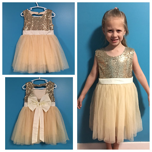 Gold sparkle dress with white bow