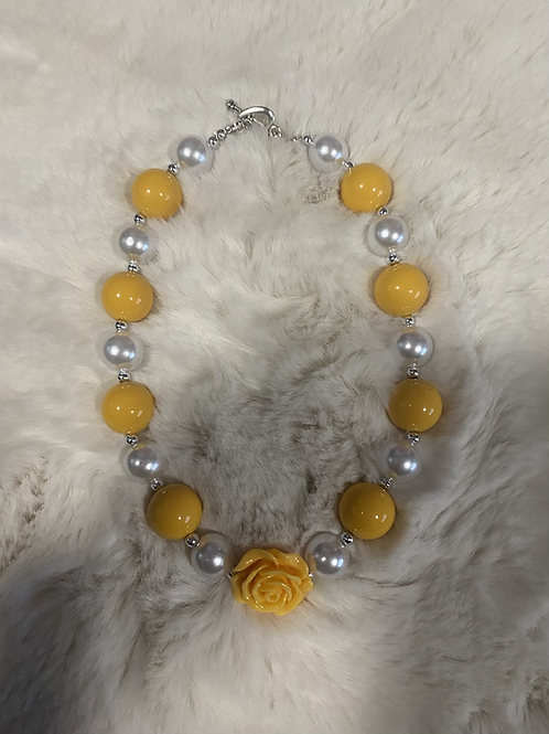 Mustard Rose Bubble Necklace