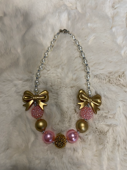 Bow Gold and Pink Nexklace