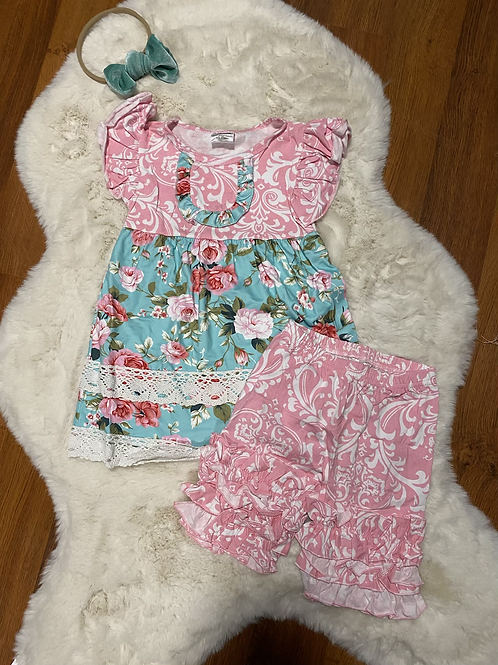 Blue Pink Flower Capri Outfit
