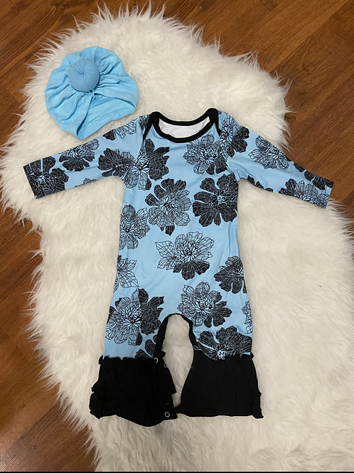 Blue Flower Ruffled Romper
